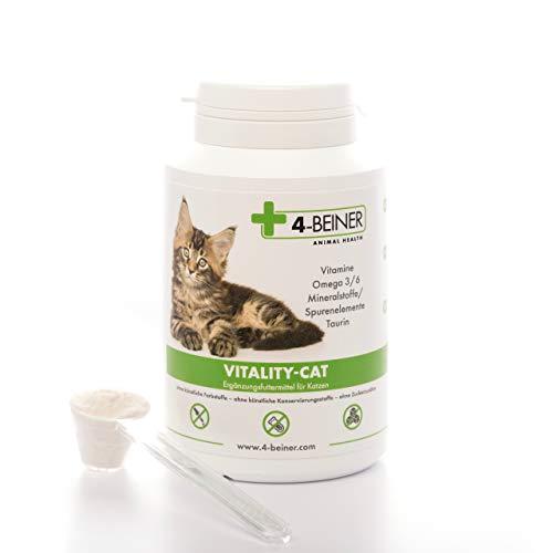 4-BEINER Vitality-Cat, 11 Vitamine für Katzen + Omega 3/6 + Zink, Selen, Mangan, Kupfer, Eisen, Taurin, Multivitamin-Pulver auch ideale Nahrungsergänzung bei Barf Fütterung (Barfen), 90 g Pulver